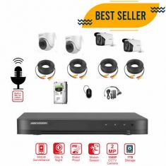 Hikvision 4CH 2MP CCTV Camera Bundle with Audio + Installation