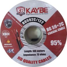 Kaybe 100M RG59 Cable 95% Copper CCTV Coaxial + DC Cable Roll